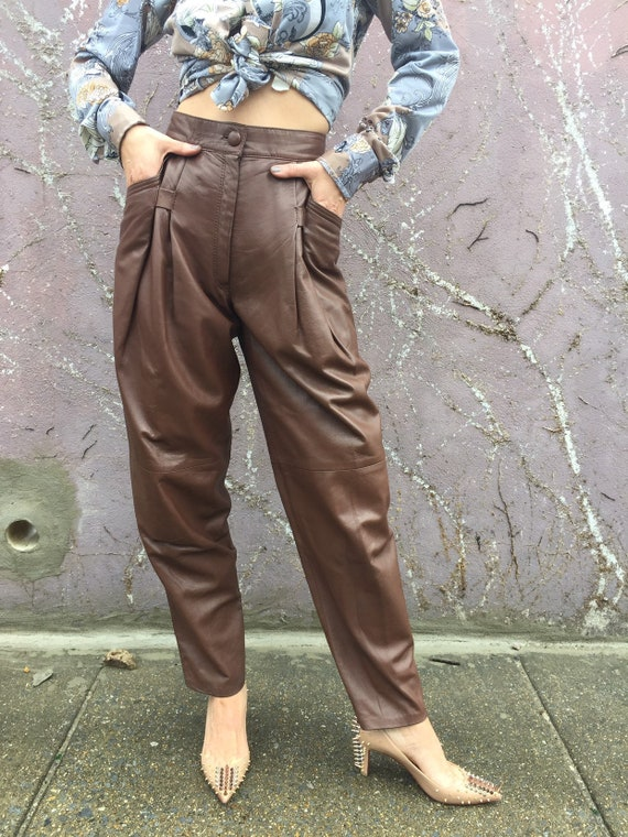 80s leather pants | high waisted pleated brown pan