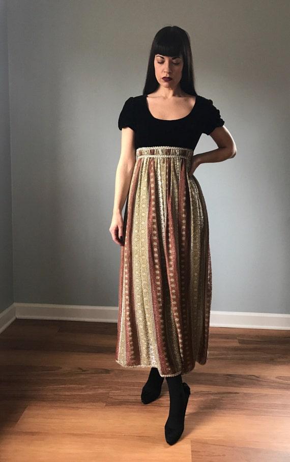 60s velvet and lurex gown | velvet maxi dress