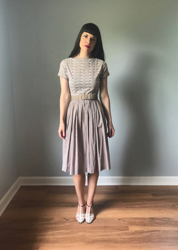 vintage 50s dress | 50s cotton shirt dress | embro