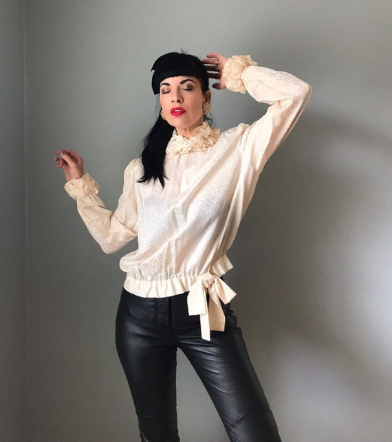 vintage 80s silk blouse | JERRI SHERMAN leaf print