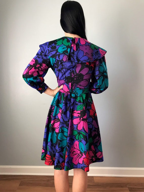 70s floral dress | polyester flower power collare… - image 7