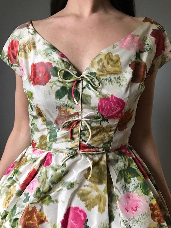 50s floral party dress   vintage 50s cocktail dre… - image 2