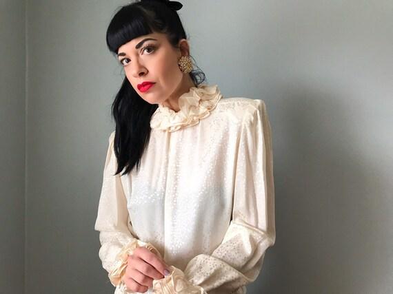 vintage 80s silk blouse   JERRI SHERMAN leaf prin… - image 2