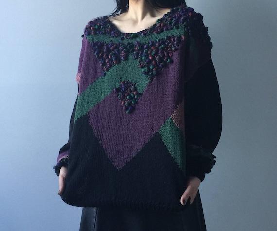 80s pullover sweater | popcorn knit sweater | chun