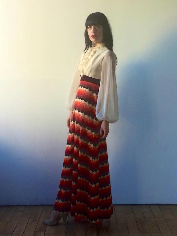 vintage 70s maxi dress   tuxedo ruffle top   empir