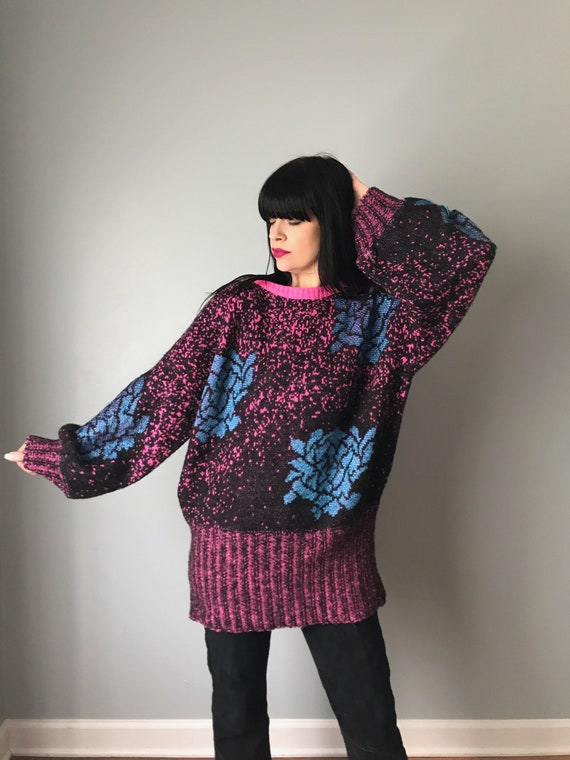 GIL AIMBEZ knit rose pullover sweater | 80s batwin