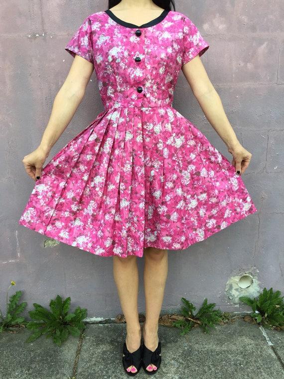 vintage 50s floral print dress | 1950s cotton swin