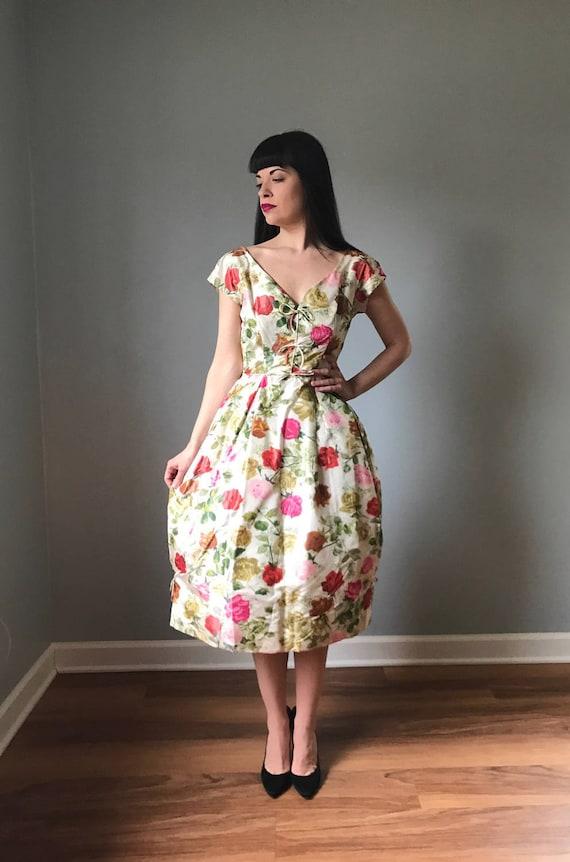50s floral party dress | vintage 50s cocktail dres