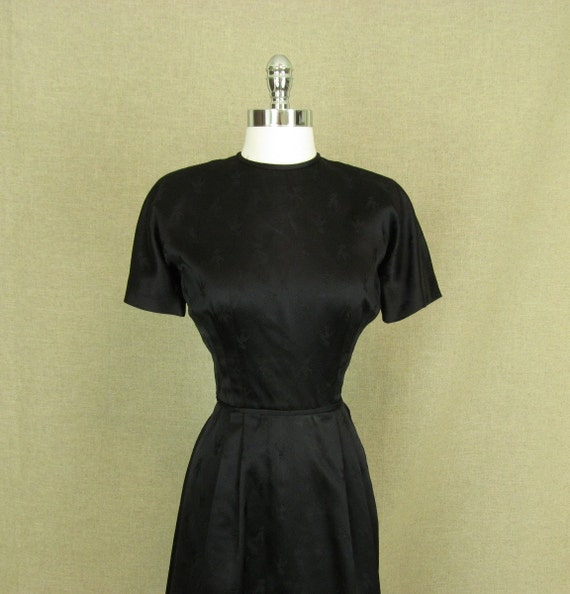 Vintage 1950s Black Dress / 50s Black Satin Zebra