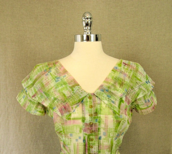 1950s Dress / Vintage Green Sheer Print Dress