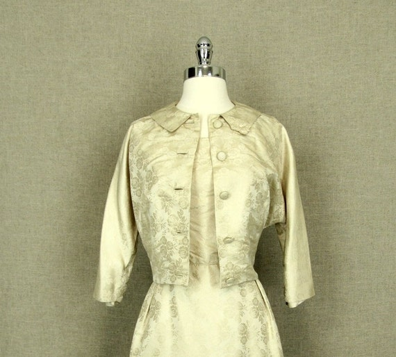 1960s Cream Silk Wedding Dress / Vintage 60s Weddi