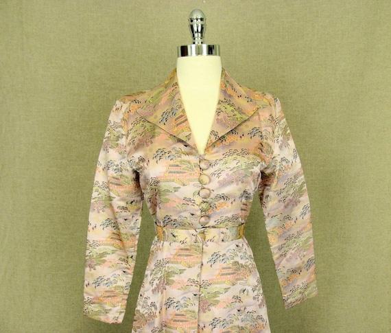 SALE - 1950s Dress Coat / Vintage Pink Asian Broca