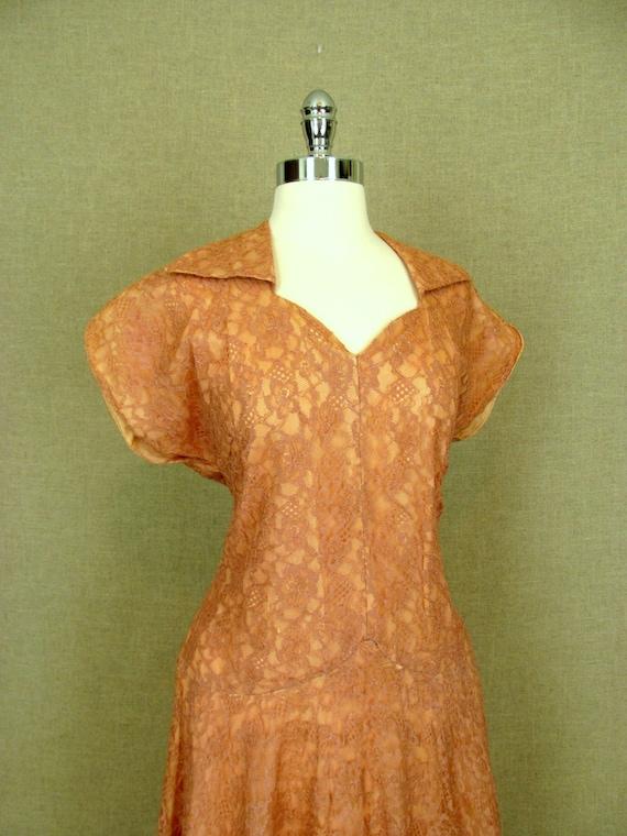 Vintage 40s Dress / 1940s Pink Lace Dress