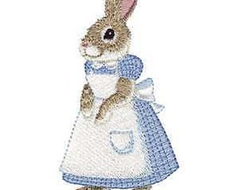 Country Bunny Rabbit Hare Embroidered Iron On Patch / Applique