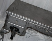 Gorgeous Hammered Silver Aged Pewter Ornate French Executive Writing Desk SOLD