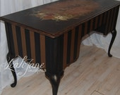 Gorgeous Hand Painted French Desk Vanity Black Gold FREE SHIPPING