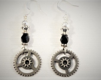Steampunk  Earrings Silver  Gears and Beads