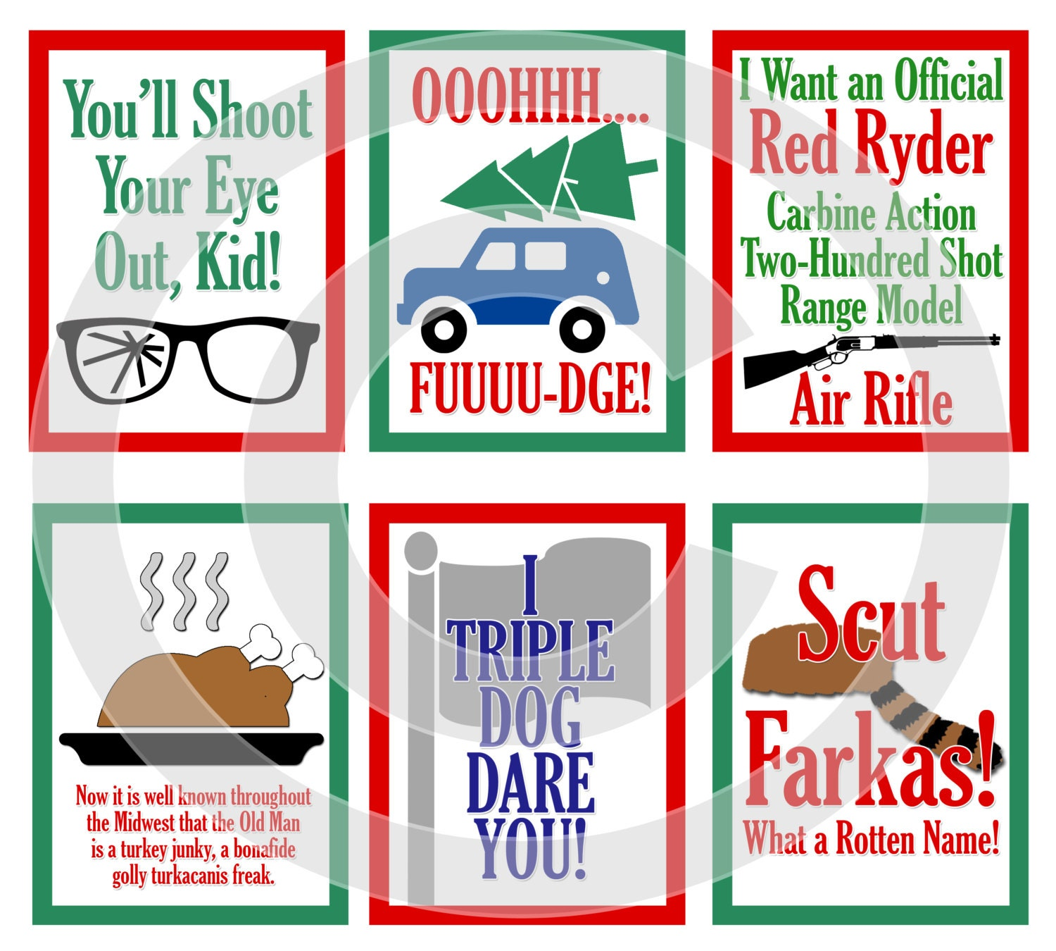 A Christmas Story Movie Digital Scrapbooking Journaling Cards   Etsy
