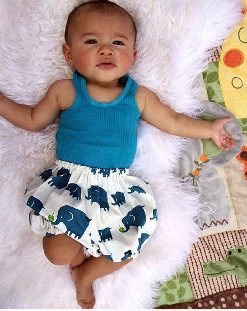 Shorts Diaper Cover Nappy Cover Toddler Blue Elephants /& Apples Bloomers Baby Pants