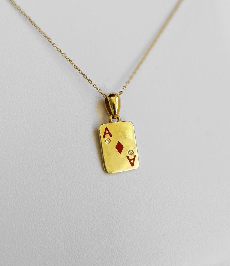 16c6c3016 Gold Ace of Diamond Charm Necklace Dainty Pendant Necklace   Etsy