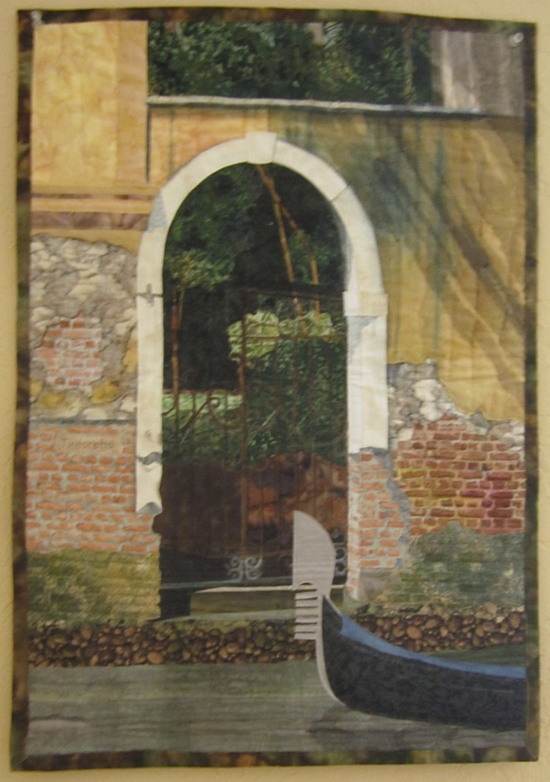 Landscape art quilt Rendevous in Venice image 0