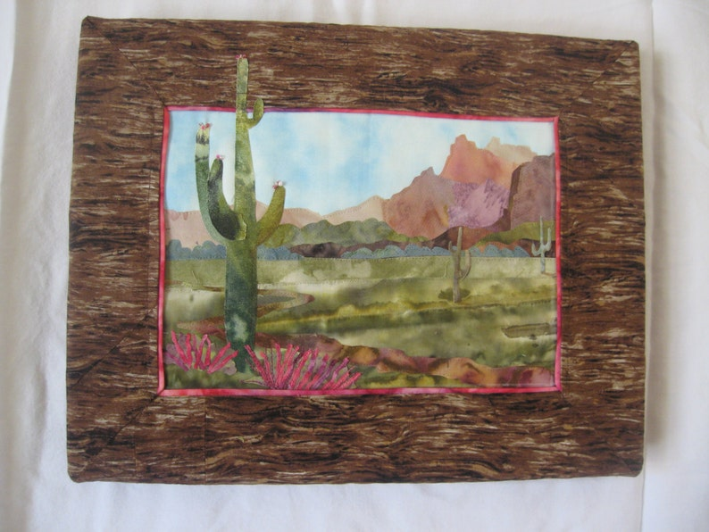 Desert in Bloom  Appliqued wall quilt image 0