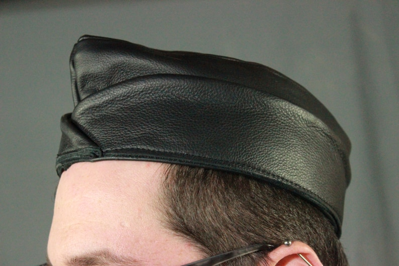 Black Leather Garrison Cap image 0