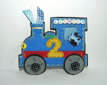 Blue Red Train personalised Birthday badge,  wall door hanger, with age and name