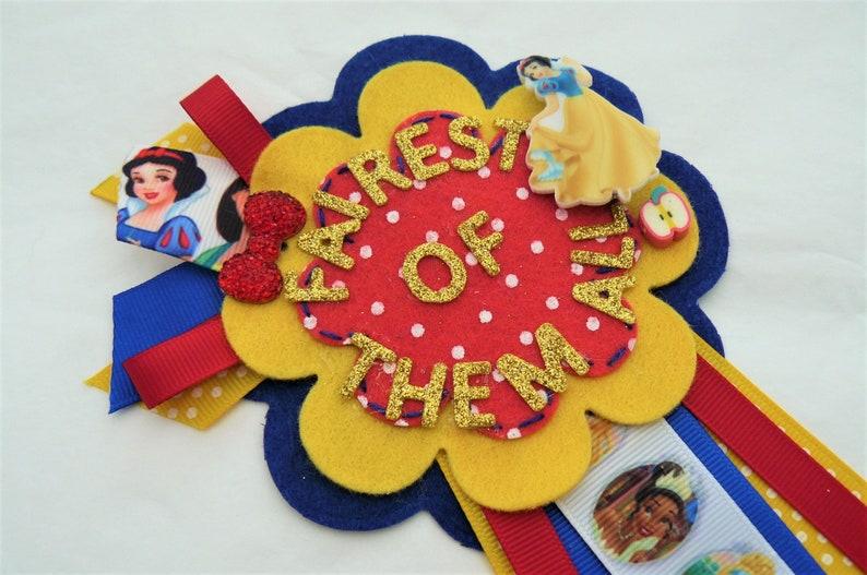 Luxury Badge Rosette Snow White Fairest of them all for Birthday Anniversary Valentines Personalised Custom make