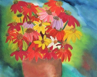 Floral oil painting,flowers painting, coneflowers painting,still life,Flowers in vase,streched canvas