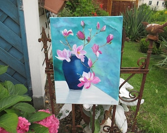 Oil painting, original oil painting, magnolia branches in a vase, still life
