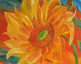 sunflowers painting, flowers painting, oil painting, floral art, streched canvas