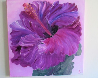 Hibiscus PAINTING, oil painting, 16x16in, flowers painting,  purple hibiscus