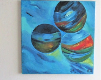 abstract oil painting,balls on canmvas, original oil painting