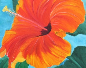 Hibiscus PAINTING, oil painting, 16x16in, flowers painting,