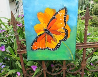 butterfly painting, Orginal oilpainting, Wall hanging, butterfly artwork , animal art,