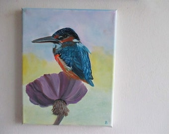 bird painting, kingfisher painting,  oil painting, home decor, fine art, wall hanging,
