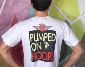 936d4d588424 Reebok The Pump Basketball NBA NCAA Pumped On Hoops Michael Jordan Spike  Lee Nike Adidas Shoe Athletic White T Shirt Tee Large L 1990s 90s