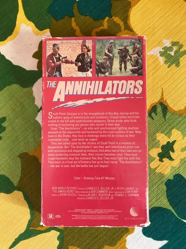 The Annihilators New World Video Vietnam War Vigilante A-Team POWs The  Warriors Taxi Driver Analog VHS Movie VCR Cassette Tape 1980s 80s
