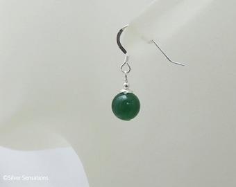 Elegant Green Onyx & Sterling Silver Short Drop Earrings, Beaded Gemstone Earrings, Feminine Green Earrings, Gift for her, Mother's Day