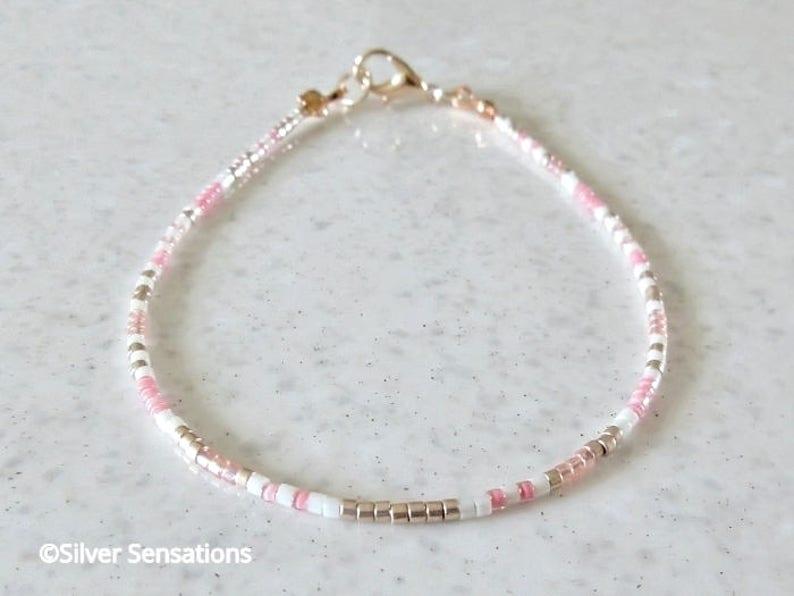 Pink /& Rose Gold Seed Bead Friendship Bracelet Minimal Stacking Bracelet Boho Layering Bracelet Skinny Necklace or Anklet Gypsy Anklet