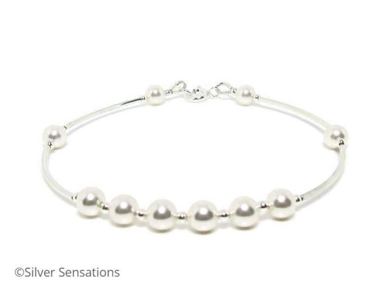 07816c5b651b9 White Swarovski Pearls & Sterling Silver Tubes Wedding Bangle Bracelet,  Choice of Colours, Prom Bracelet, Bridal Bridesmaid Bracelet,