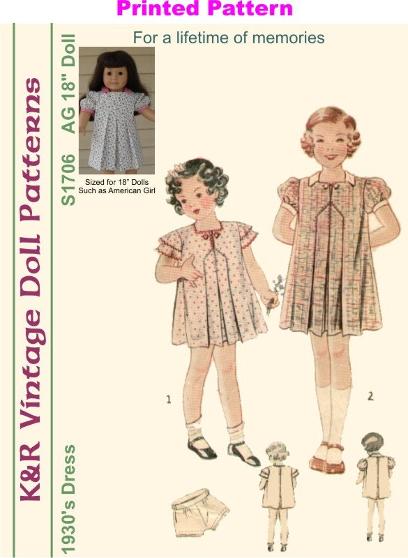 KRVPS40PP 40 American Girl Vintage 40's Dress Etsy Awesome American Girl Patterns