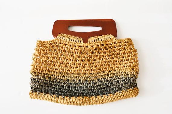 macrame bag, 70s CLUTCH Knit Macrame, Boho bag, to