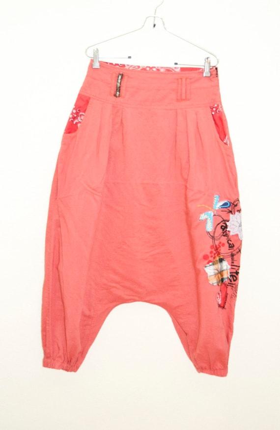 Red Pants, Sarouel Pants, Recycled Denim Patchwork