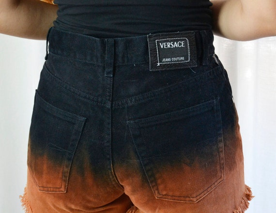 versace shorts, black versace, brown shorts,vintag