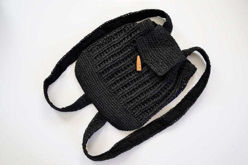 crochet backpack summer backpack eco bag natural backpack black backpack women/'s gift women/'s backpack backpack braided backpack