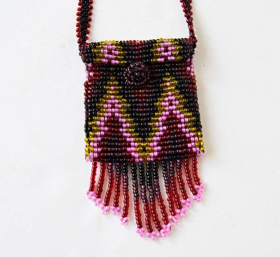 Mini purse necklace, bead necklace, mini bead bag,