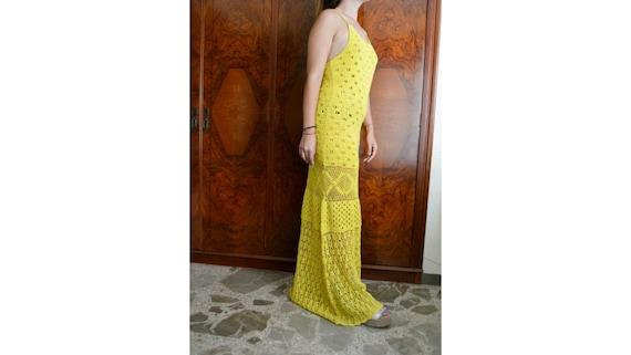 long yellow crochet dress, handmade dress, vintage