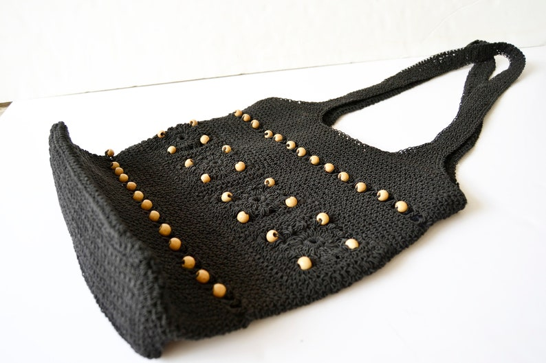 Black Crochet Bag Crochet Shoulder Bag Black Messenger Bag Etsy